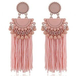 Pink Boho Gypsy Dangle Tassel Long Earrings